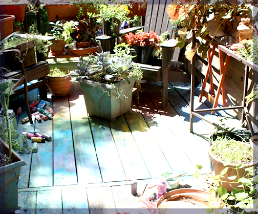 Paint a deck or fence or picnic table with rainbow colors
