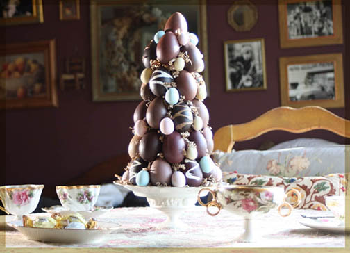Easter candy faux chocolate topiary tree centerpiece