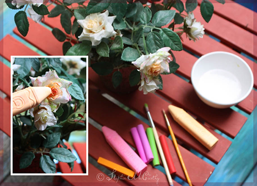 Coloring faux flowers with artist's chalk by Stephie McCarthy