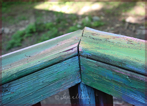 Fading paint on wood