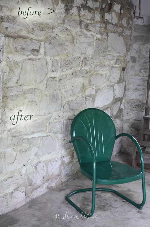 Before and after, chalk painting a stone wall