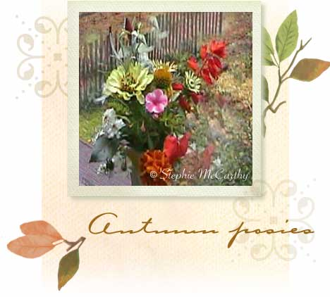 Autumn herbs and flower posy