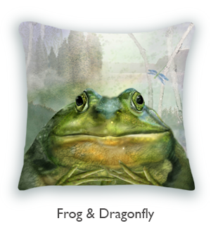 Frog and Dragonfly fairy tale pillow