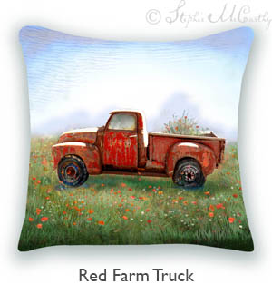 Buy Red Farm Truck Pillow