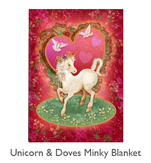 Unicorn and Doves Valentine Minky Blanket